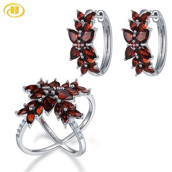 Genuine Garnet 925 Silver Cluster Earrings Ring Jewelry Sets Red Gemstone Sterling Silver Fine Elegant Jewelry for Women zhhiry women jewelry sets natural red garnet gem stone genuine 925 sterling silver ring pendant chain