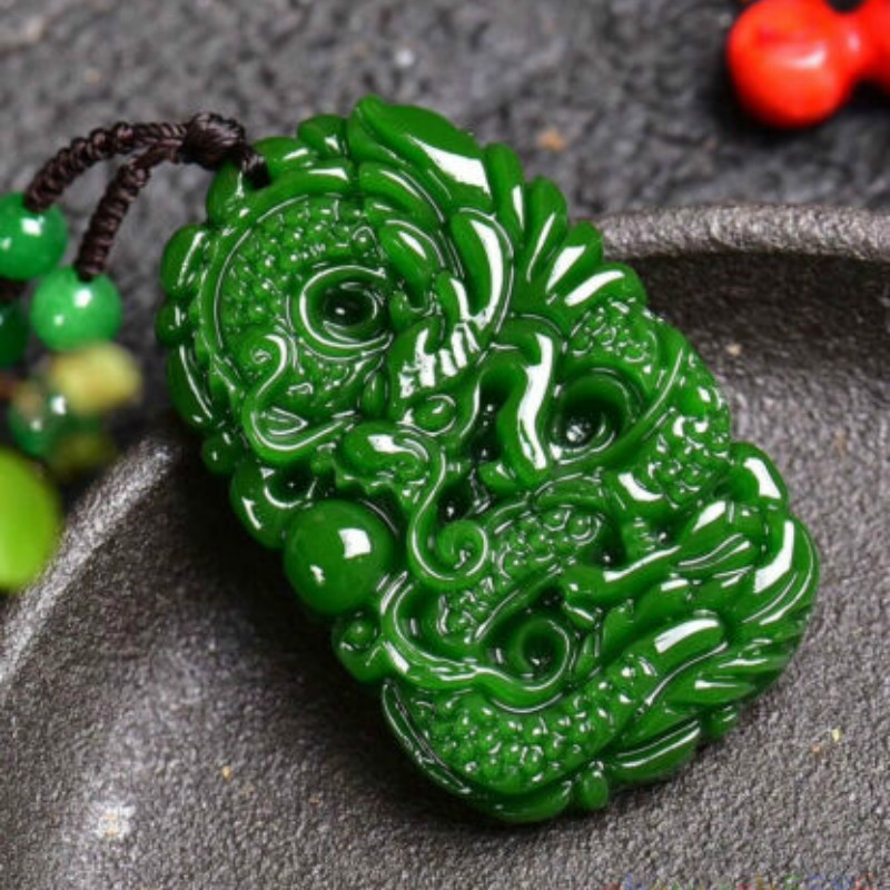 China Pure natural jade hand-carved Dragon and phoenix Pendants 2pc