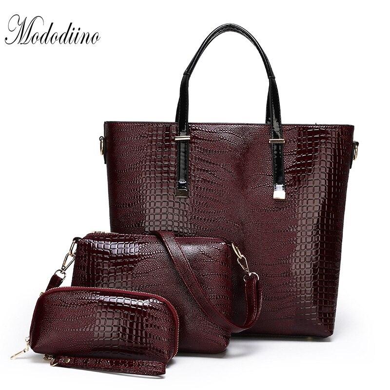 Mododiino Brands Women Handbag Set Luxury Designer Lizard Pattern Composite Bags For Purses And Handbags DNV1185