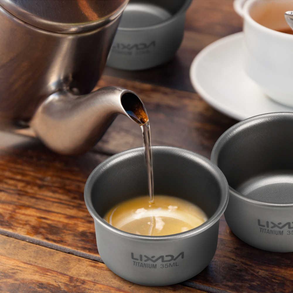 Lixada 1Pcs חיצוני טיטניום תה כוס מיני האולטרה כלי שולחן קמפינג טיולי פיקניק קפה תה ספל כלי בישול בית משרד כוס