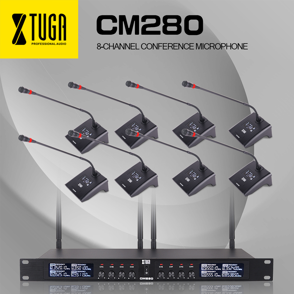XTUGA CM280 8 Channels UHF Professional Gooseneck Microphone System Conference Wireless Mics Fixed frequency Super-low Backgroun