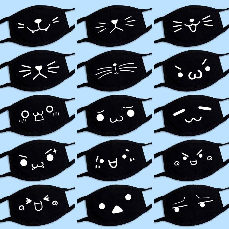 New Cotton Dustproof Mouth Face Mask Anime Cartoon Lucky Bear Masks Women Men Muffle Face Mouth Mask Cartoon Cute Cat Mask Black