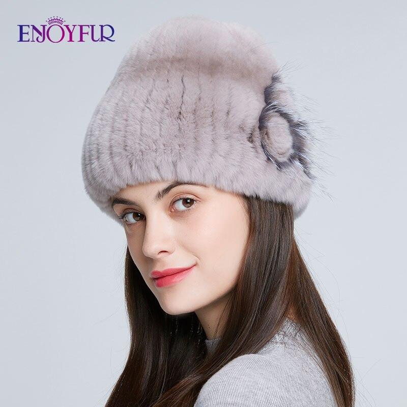 ENJOYFUR winter women fur hat natural knitted rex rabbit silver fox fur caps fashion fur caps with floral brand female hat sale