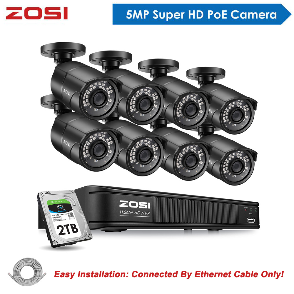 ZOSI 5MP CCTV 5 Megapixel Video Security Outdoor Nightvision IP Camera Surveillance System POE H.265 8CH NVR Kit HDD