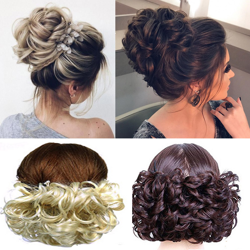 Short Curly Chignon Women's Synthetic Hair Bun Black Brown Hair Extension With Chignon Rubber Band Combs In Hairpiece