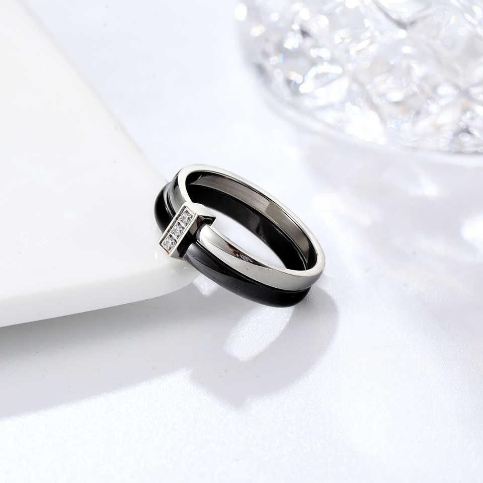 แหวนเซรามิคสีดำสำหรับผู้หญิง 2 ชั้นสแตนเลสสตีลเงินฝัง Zircon แหวนบางที่ไม่ซ้ำกันการออกแบบหมั้นแหวน