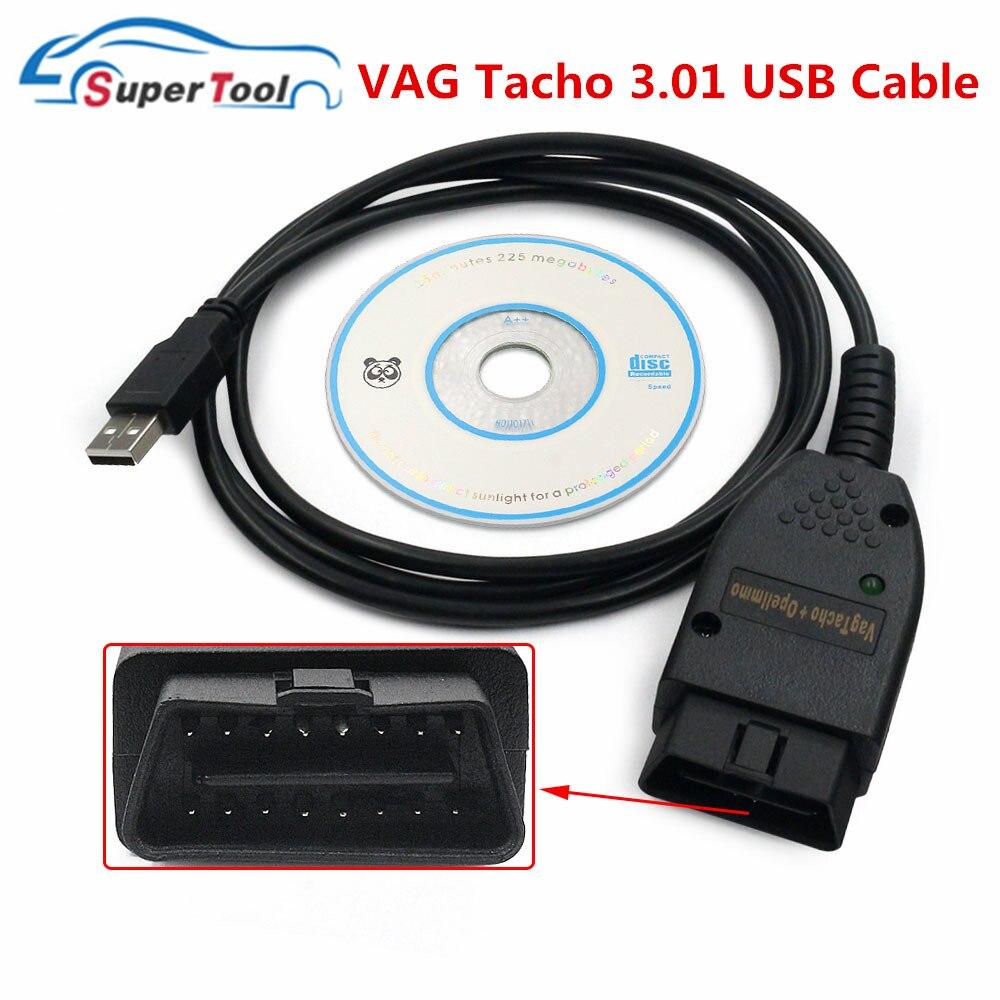 OBD2 Car Cable VAG Tacho 3 01 USB Diagnostic Cable VAG OBDII Scanner Tool VAGTacho  3 01 Car Diagnostic Cables For Audi Skoda