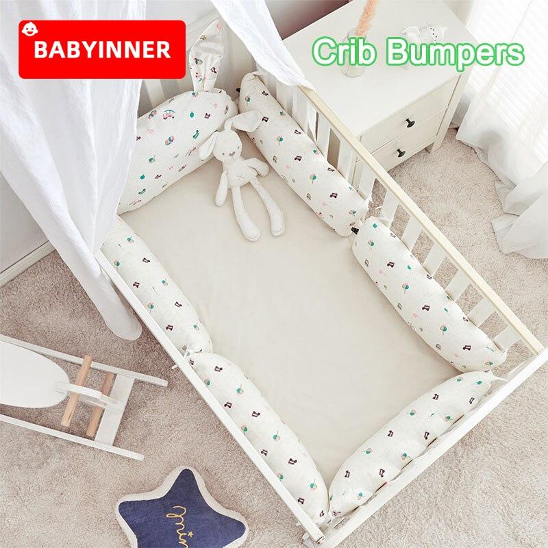 Babyinner Baby Krippe Stoßfänger 6 Pcs Baumwolle Kissen Einstellbare Kinderbett Protector Infant Bett Gehäuse Bettwäsche Set Baby Zimmer Dekoration