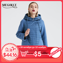 MIEGOFCE 2020 New Collection Womens Spring Jacket Stylish Coat with Hood Patch Pockets Double Protection from Wind Parka