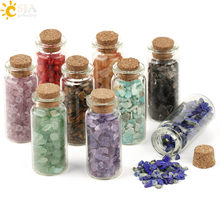 CSJA 52x21mm Mini Glass Wishing Bottles Natural Chip Stones Healing Crystal Decoration Lucky Drifting Bottle Birthday Gifts G218(China)
