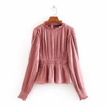 women elegant white pink blouse long sleeve pleated elastic waist female casual shirt solid chic tops blusas 9519(China)