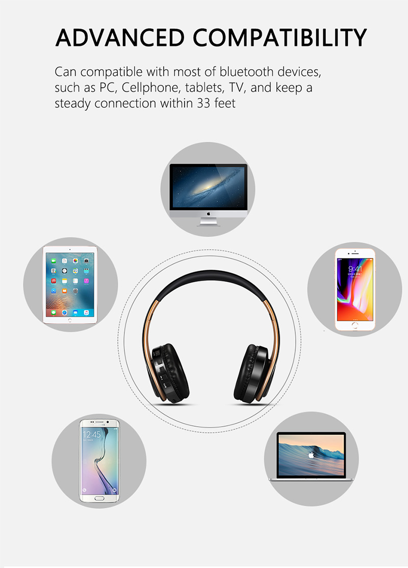 Foto of compatibility Wireless foldable headphones with mic. Foldable wireless earphones for mp3