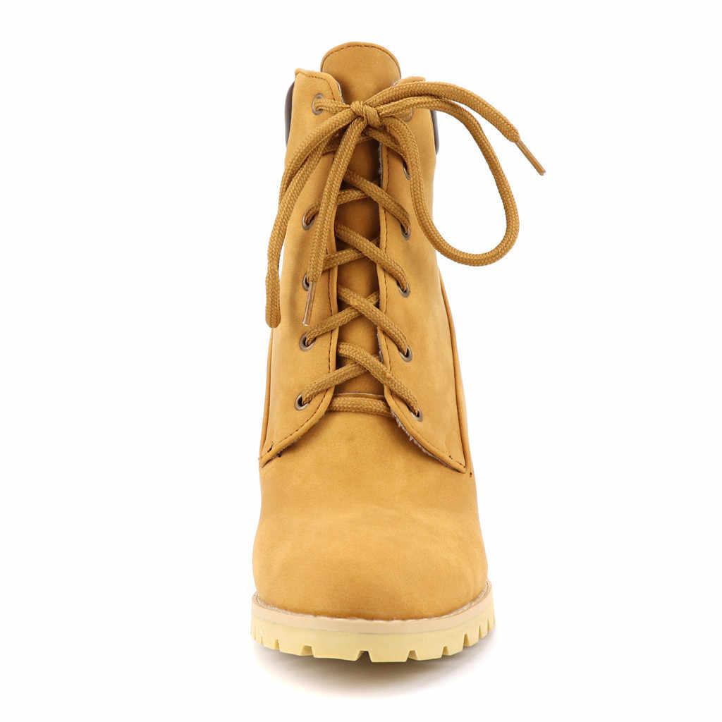 Kovboy çizmeleri kadınlar için sonbahar kış bayan botları lace up kadın kışlık botlar 2019 yüksek topuklu çizmeler kadın seksi # g2