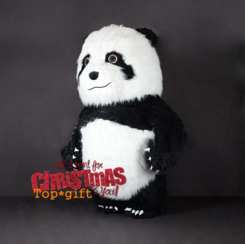 2019 mignon cadeaux d'anniversaire gonflable longue fourrure chinois Panda ours mascotte Costume en peluche robe Costume fête nouveau