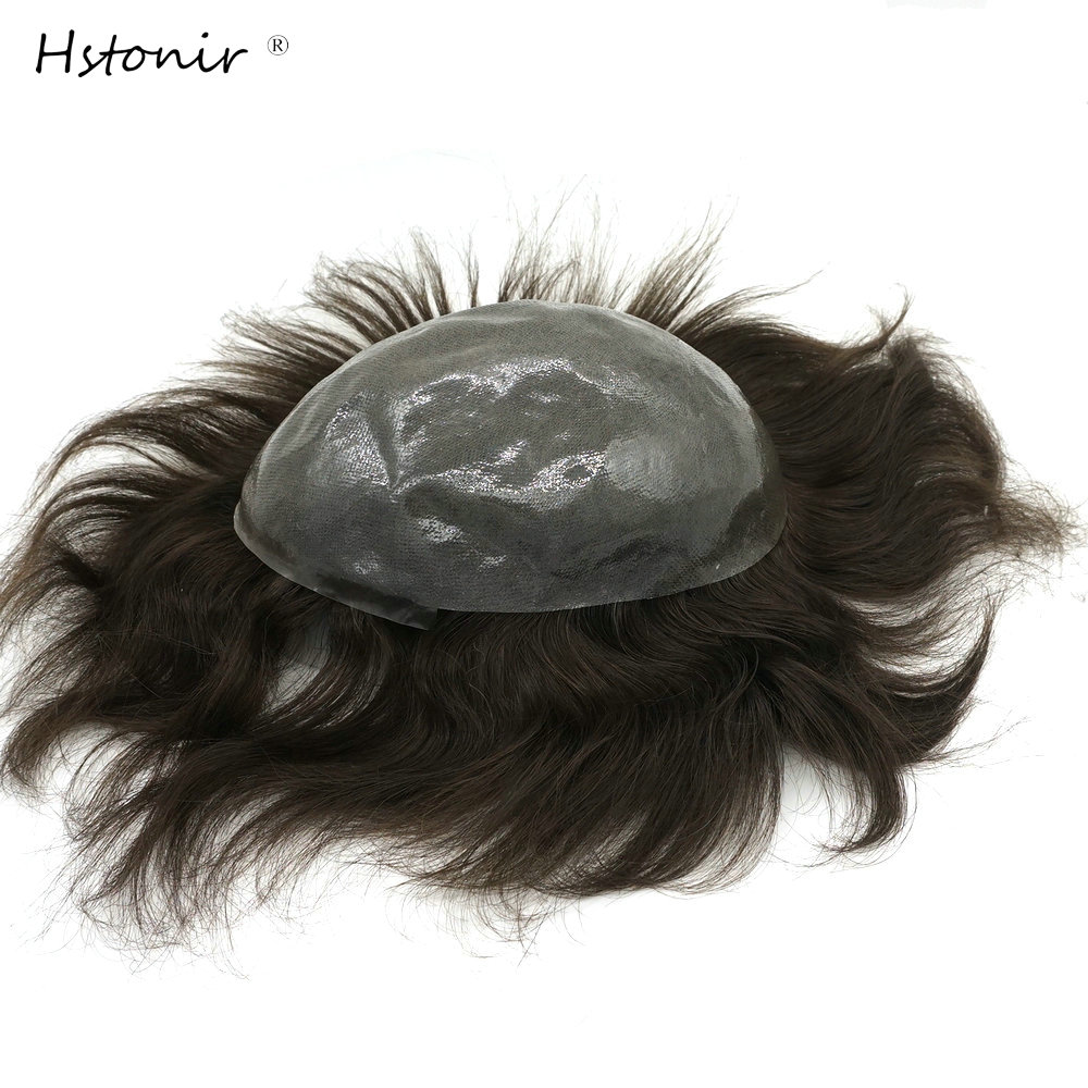 Hstonir Clear Poly Men Hair Toupee Indian Remy Hair Grade Toupee Hair Replacement System H080