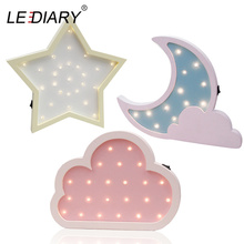 LEDIARY Wooden Night Light Bedside Lamp Moon Star Cloud LED Night Light Ramadan Room Decoration For Baby's Children's Bedroom cloud moon star sun led baby night lights kid room decorations