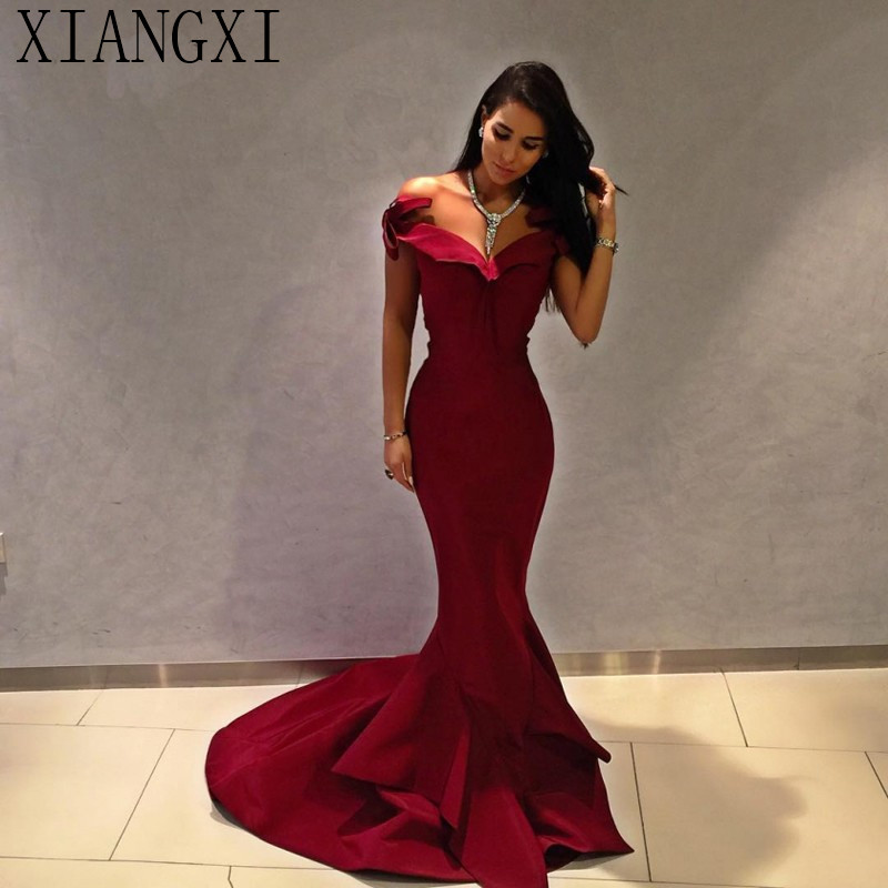 Elegant Dark Red Satin Mermaid Evening Dress Boat Neck Off The Shoulder Long Prom Gowns 2019 Simple Formal Occasion Dress