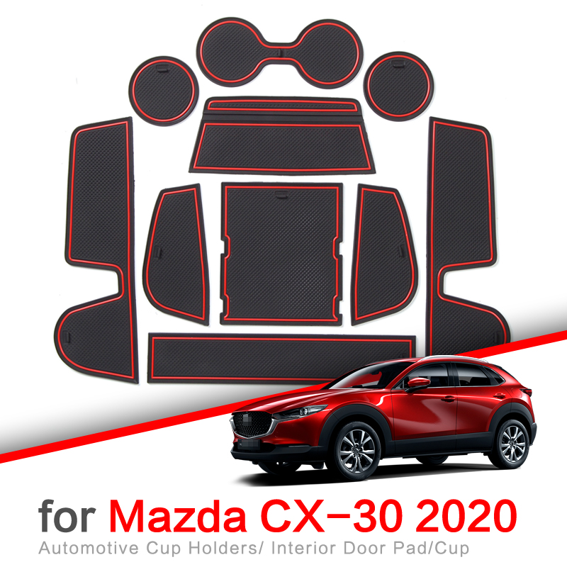 ZUNDUO Anti-Slip Gate Slot Cup Mat for MAZDA CX-30 2019 2020 CX30 CX 30 Accessories Door Groove Non-slip Pad Coaster