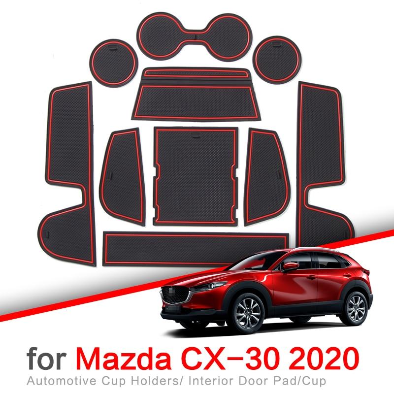 ZUNDUO Anti-Slip Gate Slot Cup Mat for MAZDA CX-30 2019 2020 CX30 CX 30 Accessories Door Groove Non-slip Pad Coaster