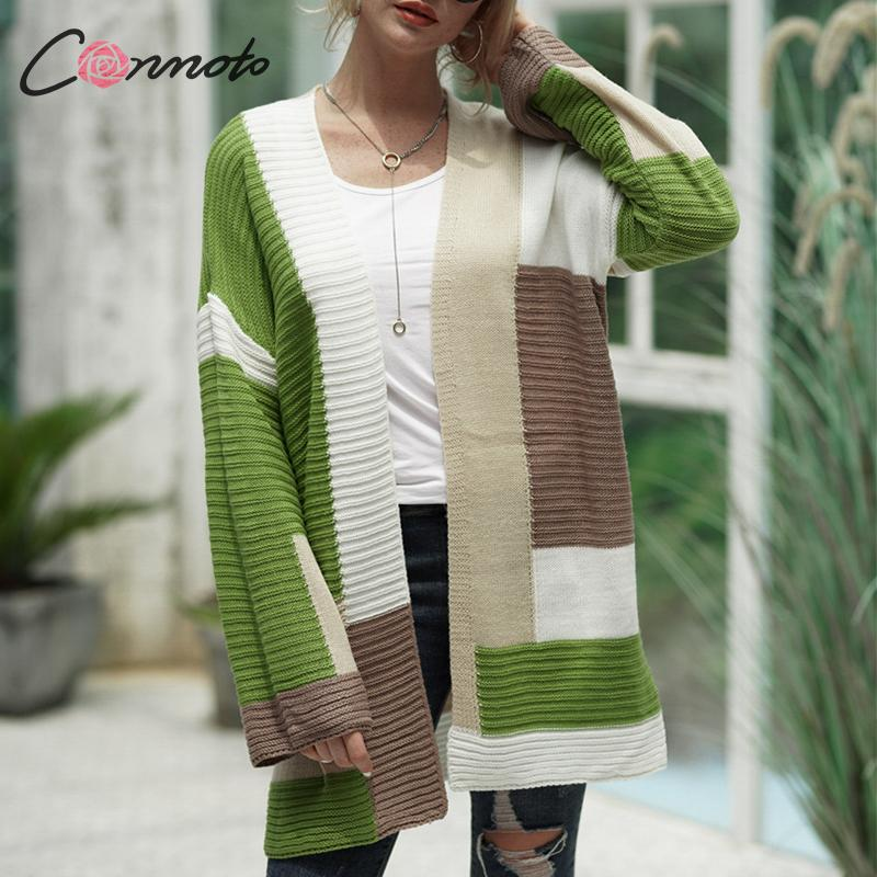 Conmoto Fashion Color Block Cardigans Sweaters Women Autumn Winter Knitted Long Sleeve Vest Female Sweater Jackets And Coats