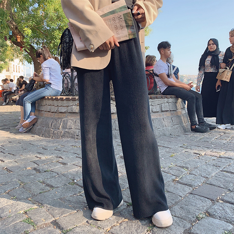 MISHOW 2019 Autumn Causal Knitted Trousers Women Elastic Waist Lace Loose Straight Long   Pant   MX19C2121