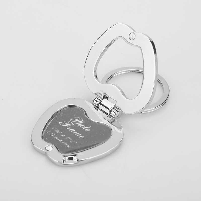 Coeur Apple alliage insérer cadre Photo porte-clés porte-clés Fob amoureux Logo cadre Photo décor à la maison pour petite amie cadeaux de noël