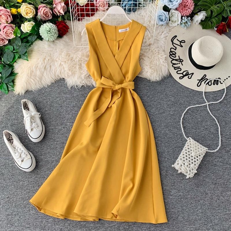 2020 Slim V Neck Summer Midi Long Bandage Dress Vestido De Festa Party Tank Sundress Women Casual Elegant A-Line Tie Vestidos