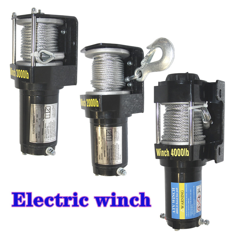 Winch Modified Electric Winch 2000/3000/4000 / 4500/6000/9500 / 12000lb12v Handle / Wireless Wire Rope SUV ATV