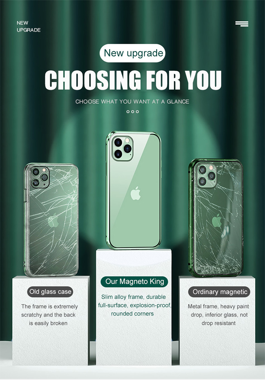 Metal Magnetic Phone Flip Cover With Double-Sided Tempered Glass for iPhone 11 pro max XR XSMAX 7 8 PLUS 5