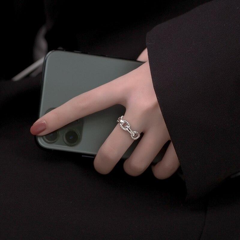 XIYANIKE 925 en argent Sterling coréen large mince chaîne anneau femelle INS Simple à la main ouverture Index doigt mode bijoux Couple 5