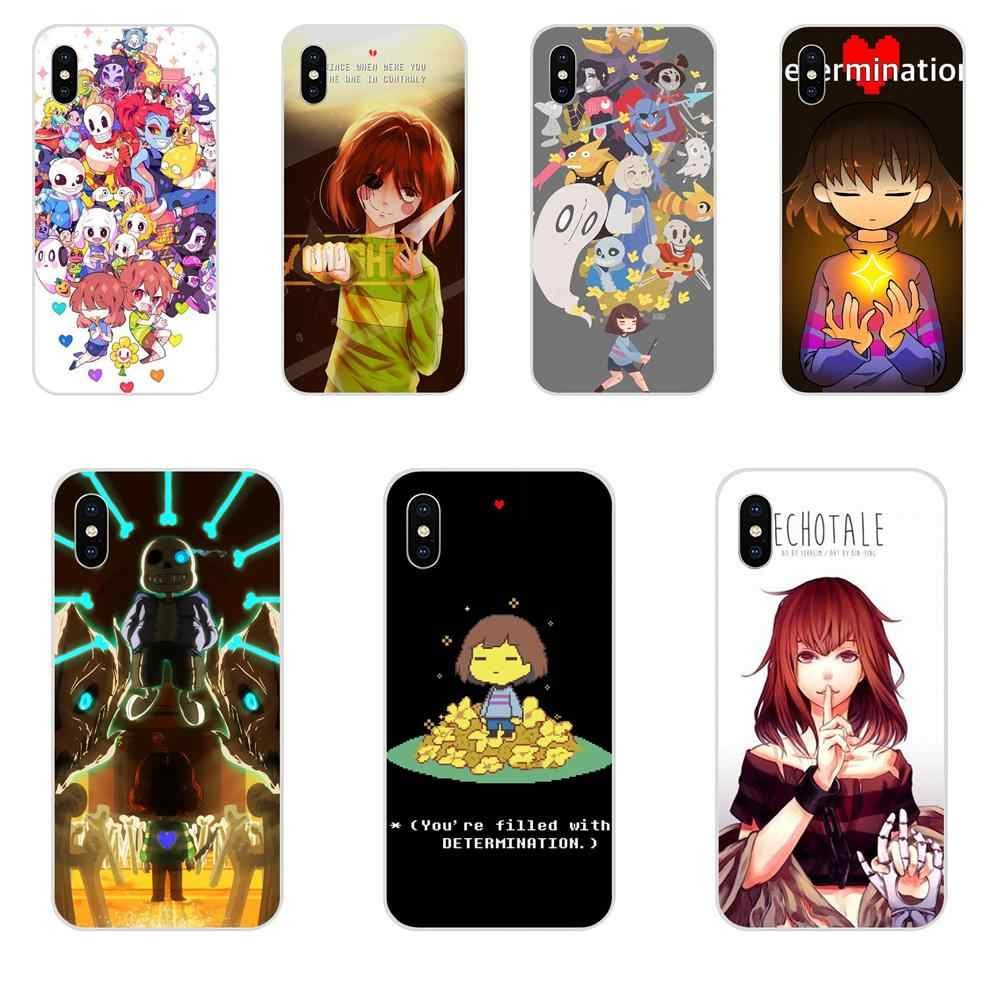 Para Apple iPhone X XS X Max XR 4 4S 5 5C 5S SE 6 6S 7 8 Plus suave TPU funda protectora Popular juego genial Undertale Chara