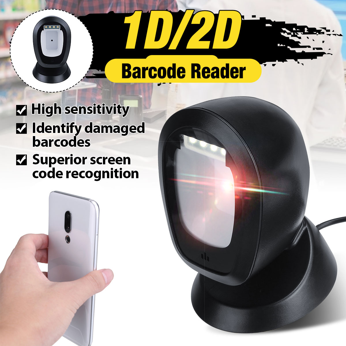 Barcode Scanner Platform Usb-Interface Automatic Handsfree 2D 1D with 360-Degrees Rorating title=