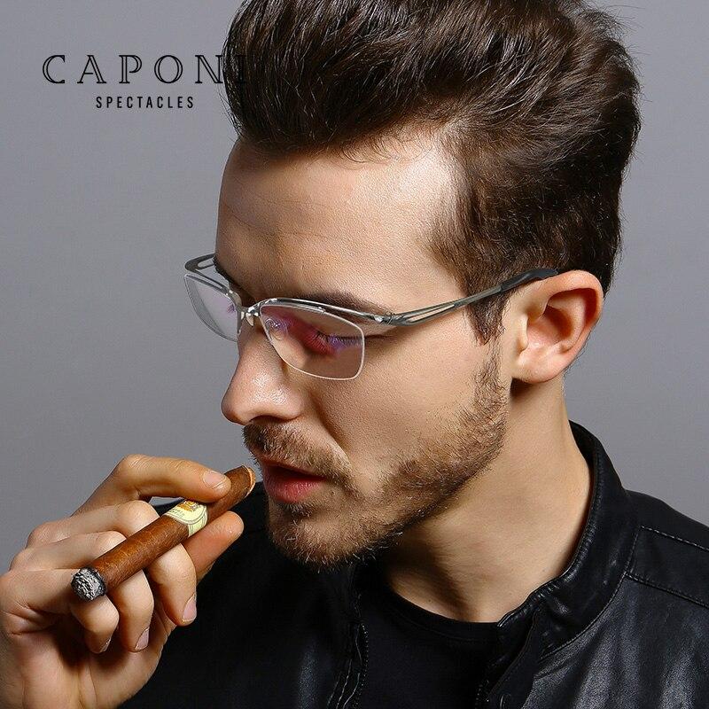 CAPONI Blue Light Blocking Eyeglasses Pure Titanium Ultralight Glasses Frame Prescription Computer Clear Glasses For Men  JF2277