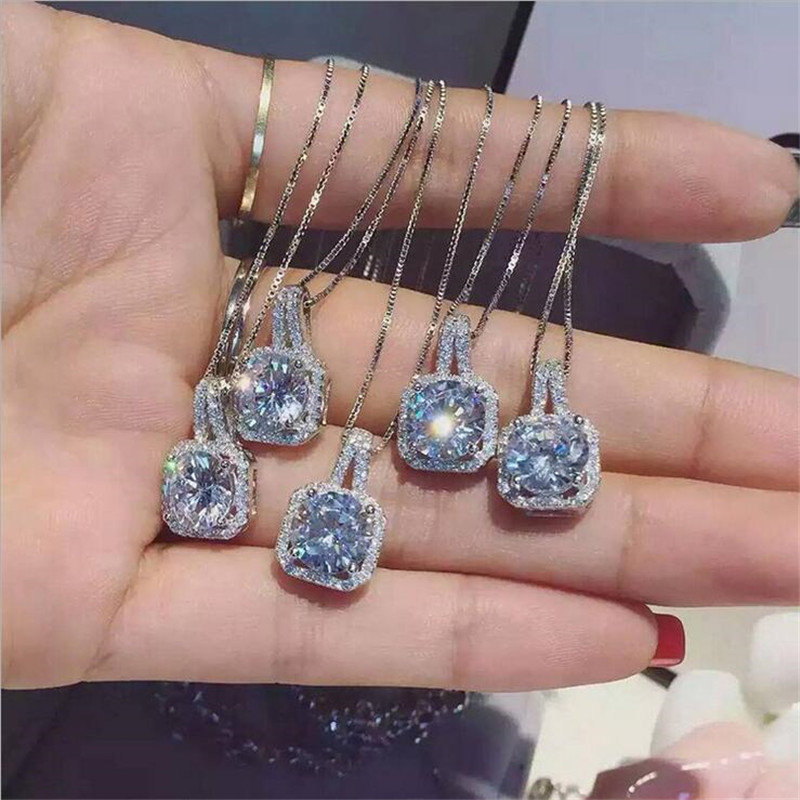 Statement Female Pendant Real 925 Sterling Silver Bijou AAAAA Cz Party Wedding Pendants With Necklace For Women Bridal Jewelry