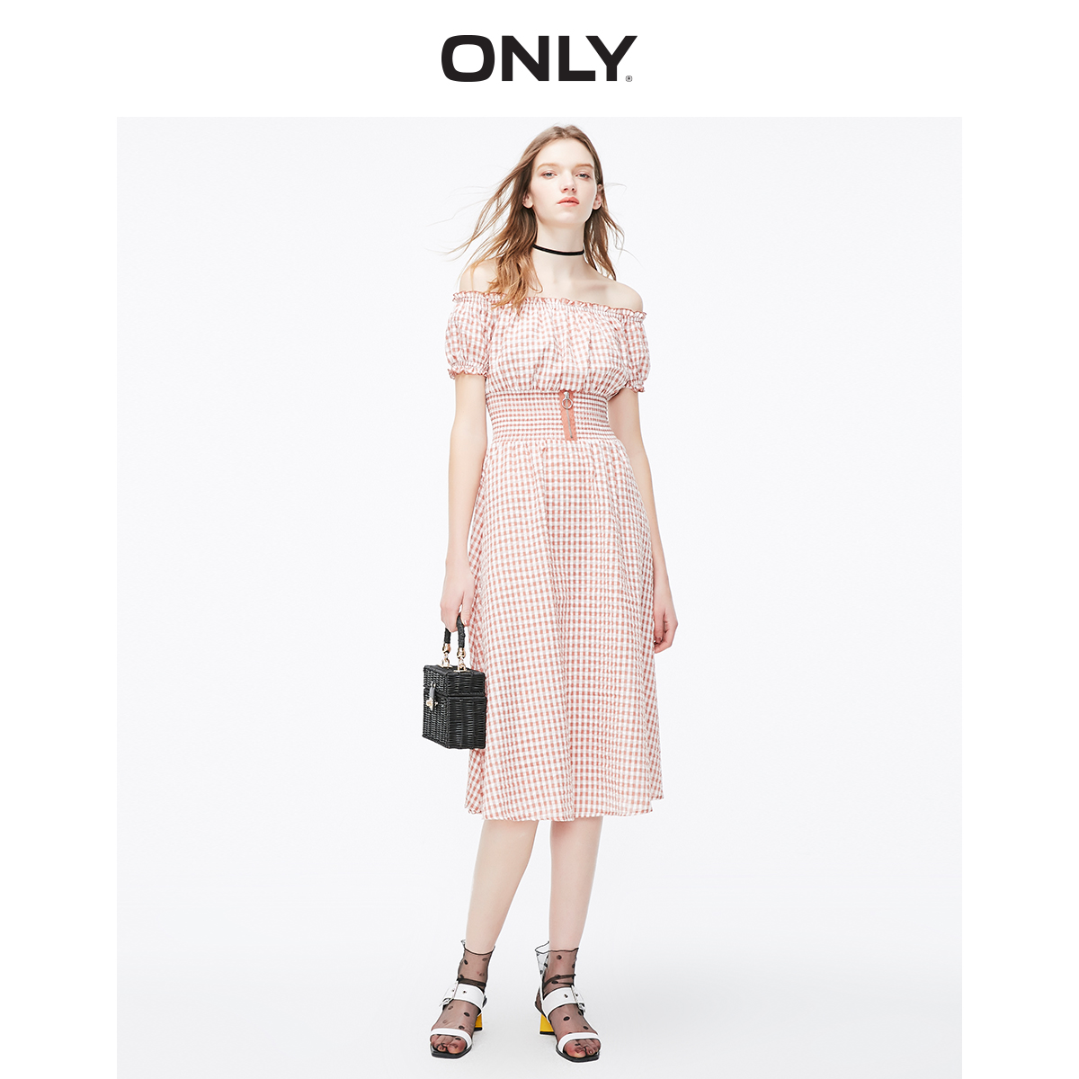 ONLY Women's Boat Neck Cinched Waist Checked Dress | 119107713