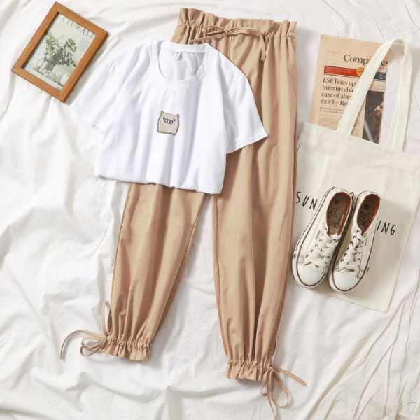 New Famale Tracksuits Fashion CLothes Casual Loose White Top And Pant 2 Piece Sets Women Girl Sweet Sportswear Free Shipping