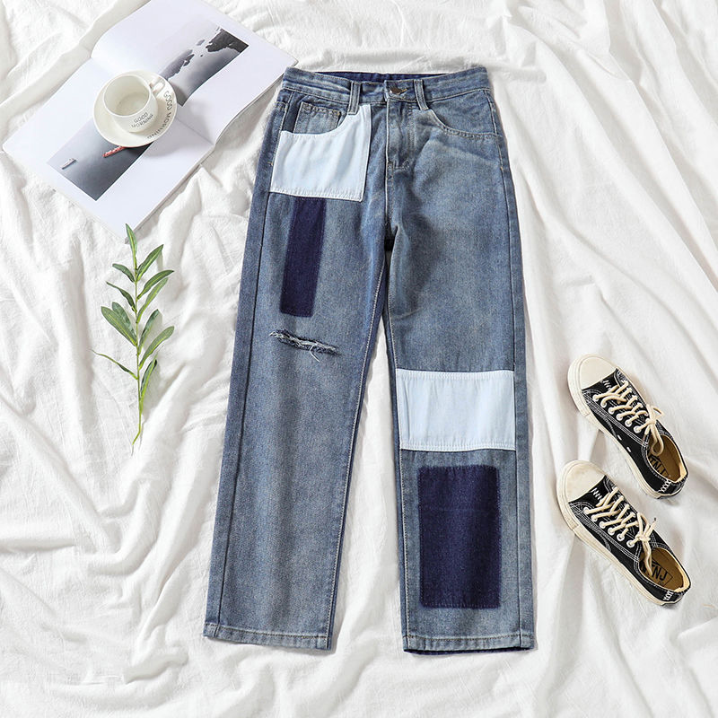 Hole Cotton Patchwork Straight Jeans Woman High Waist Jeans Boyfriend Trousers Denim Push Up Vintage Pants Pockets Korean W297