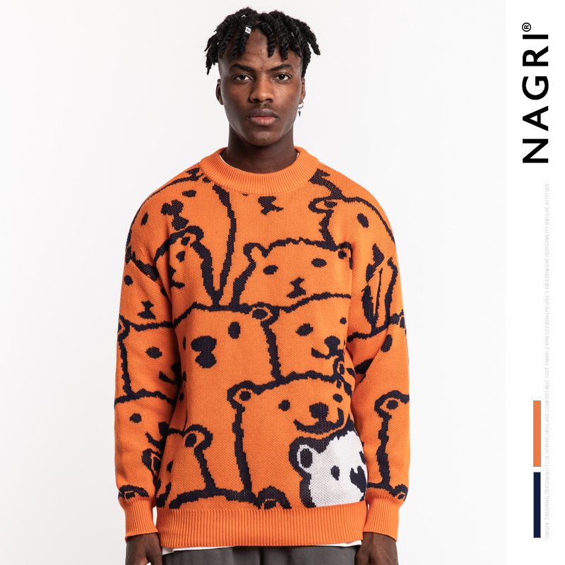 Mens Cartoon Bear Knitwear CoupleLoose Lazy Port Orange Sweater Sweaters  Pullover Men