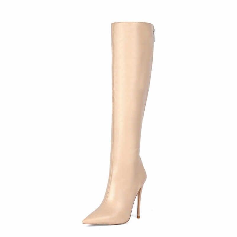 FEDONAS Kadın Seksi Gece Kulübü Ayakkabı Kadın Sentetik Deri Kadın Diz Çizmeler Üzerinde Büyük Boy Uzun Çizmeler Fermuar Yüksek topuklu