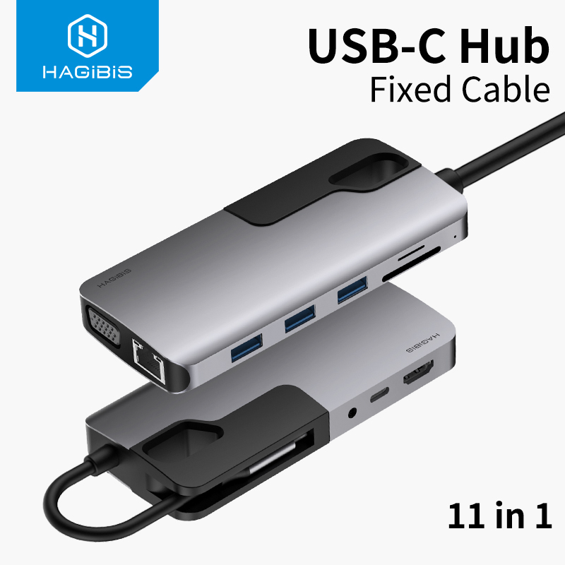Hagibis USB C HUB Type C To USB 3.0 HUB HDMI VGA Adapter Thunderbolt 3 Dock 3.5mm Audio RJ45 Adapter PD Charging For MacBook Pro