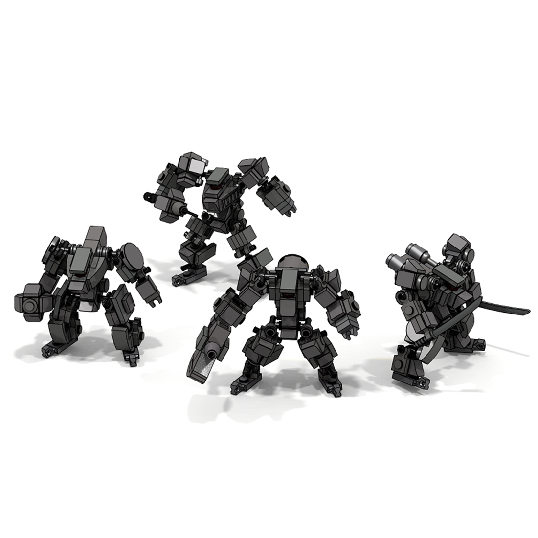 Moc Mini Mecha Fighting Warfare Soldier Model Assembly Small Particle Building Blocks Educational Toy Set - Red 030-1
