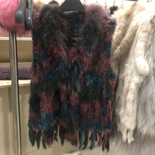 Wholesales Women Genuine Knitted Rabbit Fur tassels Raccoon