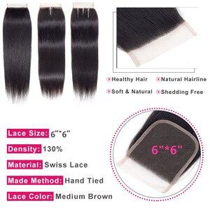 """Image 4 - شعر بلينغ 6x6 برازيلي مستقيم مع شعر أطفال خالٍ من/وسط/ثلاثة أجزاء 100% شعر ريمي طبيعي اللون 8 22"""""""