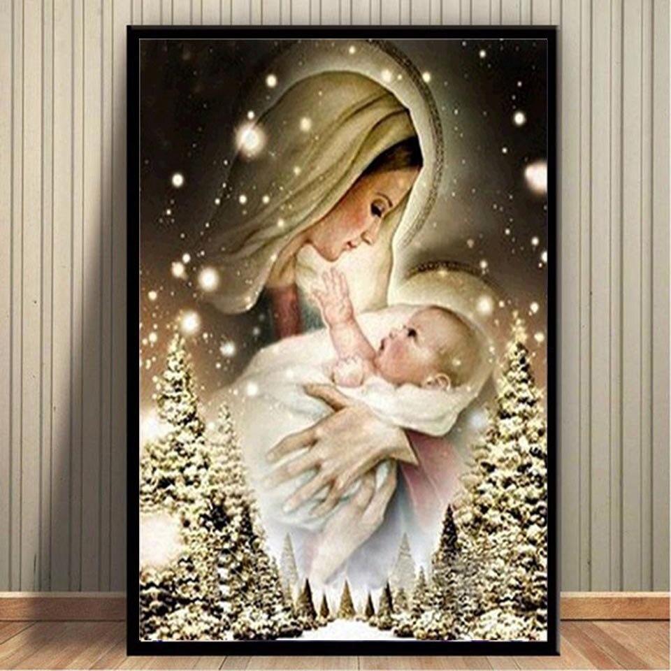 Полный Круглый алмазная, мозаичная, религиозная Madonna значок 5D DIY алмазная живопись Девы Марии религиозных икон, алмазная вышивка стены искус...