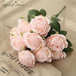 10 heads artificial flowers rose silk wedding bouquet home decor vase party arrangement garden hotal plants Valentine's Day gift