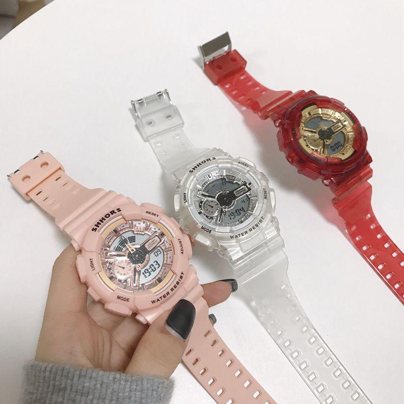 New Transparent Waterproof Electronic Watch Double Display Men's Sports Couple Watch Fashion Trend Sports Watch Women Watch