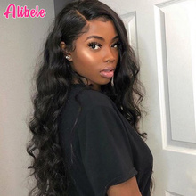 Alibele brezilyalı gevşek dalga dantel ön İnsan saç peruk siyah kadınlar için Remy saç peruk bebek saç 150 yoğunluk 13x4 inç