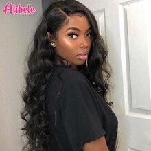Pelucas de cabello humano Alibele brasileñas sueltas con onda de encaje frontal para mujeres negras, peluca de pelo Remy con pelo de bebé de 150 de densidad, 13x4 pulgadas