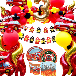 1 Set Firefighter Party Balloons DIY Spiral Ornaments Disposible Tableware Fire Theme Party Supplies Kids Birthday Decorations