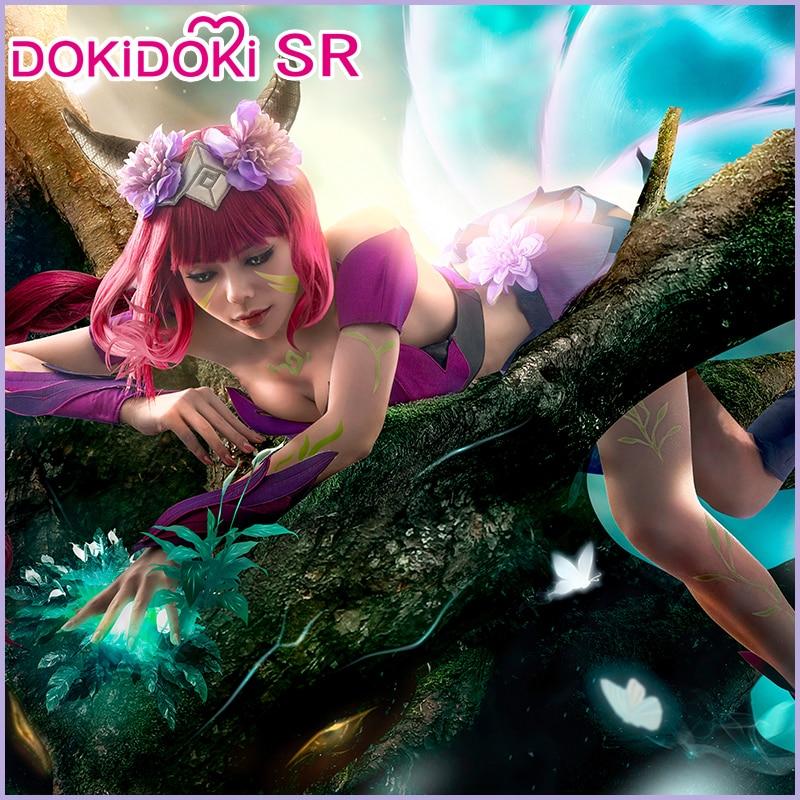 IN STOCK DokiDoki-SR Game League of Legends Cosplay Elderwood Ahri Cosplay Costume Women Purple Costume  League of Legends Ahri 1